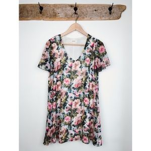 Adrienne Floral Print V Neck Mini Dress Medium